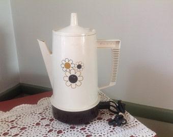 Vintage  Percolator.Poly Perk Coffee Maker Brown and Cream Percolator