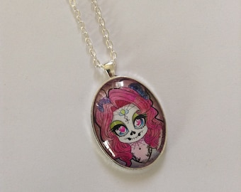 Day of the Dead Pony Cameo Necklace