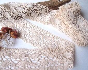 Vintage Cotton Ivory   Lace / Antique Lace Vintage Lace Trim Cotton Lace - 6 yards 8''.