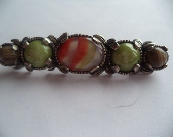 Vintage Signed Miracle Silvertone Scottish Stone Brooch/Pin