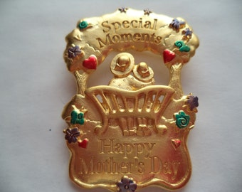 Vintage Signed JJ Goldtone Special Moments Happy Mothers Day Brooch/Pin