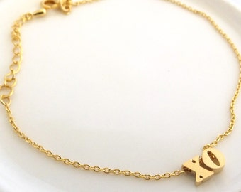 Gold XO bracelet- sister bracelet , sister gift, best friend birthday gift, bridal wedding bracelet , bridesmaid bracelet , girlfriend gift