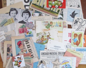 Vintage Paper Ephemera Pack 1920-1950 Mixed Lot of 50+ Colorful Book Pages & Pieces Scrapbooking Paper Crafts