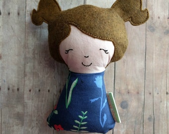 Girl with Pigtails Plushie Rattle, Brown Hair, Light Skin, Made with Embroidered Wool Felt and Navy Floral Print Cotton, Baby Shower Gift