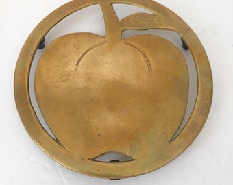 Vintage Brass Apple Trivet
