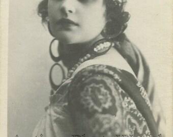 Seductive Vera Kholodnaya as gypsy Russian silent film star antique rppc