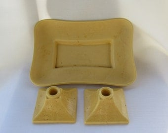 Catalina Pottery Bowl and Candlesticks Mid Century Modern EXCELLENT ORIGINAL CONDITION Signed