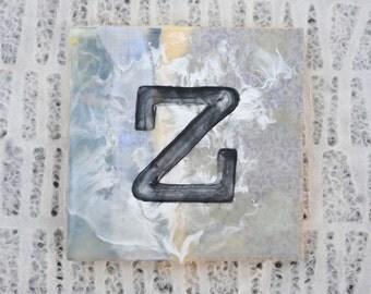 Bohemian Chic, Monogram, Lowercase Letter Z: Encaustic Collage Decor