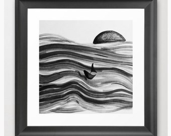 Afloat / Black and White Art Print / Ink Painting Fine Art Archival Print