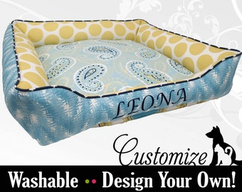 Coastal Blue & Yellow Dog Bed or Cat Bed - Designed by You!