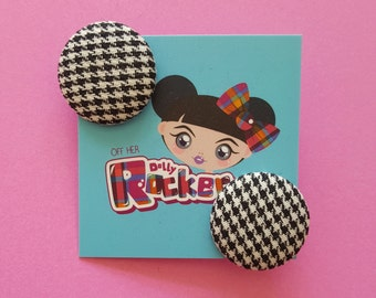 Retro, Black And White Dogtooth Button Earrings, Vintage, Mod, Punk, Goth, Pinup, 60s, Alternative, WHO'S Off Her Dolly Rocker