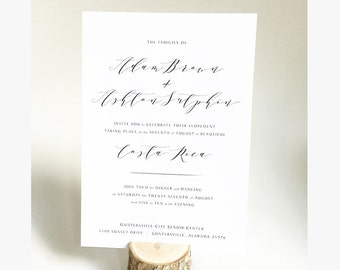 Calligraphy Wedding Invitation and RSVP - Printable - Customized for your event - Elopement