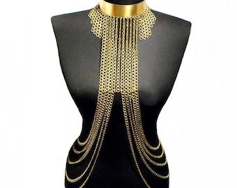 body chain, body chain necklace, body chain jewelry, body jewelry, body lewelery, gold body chain