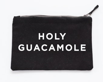 Holy Guacamole Make Up Pouch - Canvas pouch - cosmetic pouch - Avacado gift