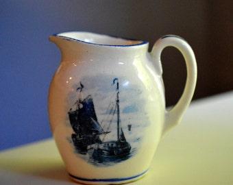 Delft Blue and White Creamer Ship Slovakia