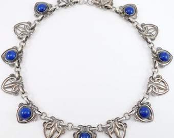 Ornate Art Deco Cobalt Venetian Glass Silver Tone Choker