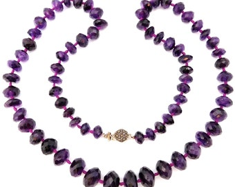 Gorgeous Estate Strand Dark Faceted Amethyst Beads