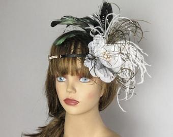 White Black Headband Kentucky Derby Headband Wedding  Feather Headband