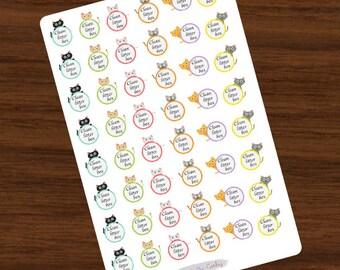 Clean Litter Box Stickers - Cat Stickers, Planner Stickers, Change Litter, Litter Stickers, for use with ERIN CONDREN LifePlanner