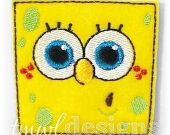 """Sponge Boy Head Feltie Digital Design File - 1.75"""""""