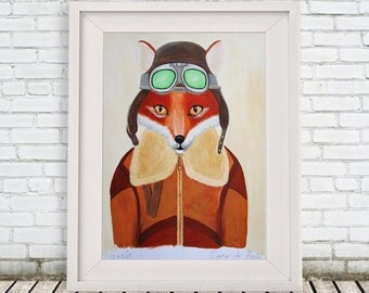 Original Fox Painting, on high quality 300g Clairfontaine Art paper, handpainted by Coco de Paris: Fox Aviator