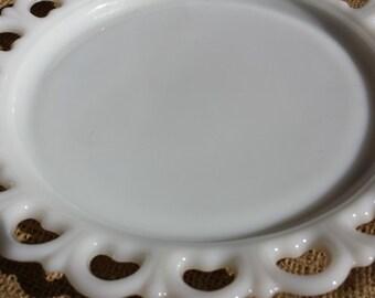 13 Inch Round Milk Glass Platter