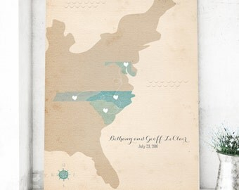 Personalized Wedding Map Guest Book - Custom city map with your locations - Wedding map print vintage map for wedding guest map