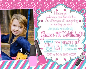 Kids Spa Party Invitation - Girls Spa Party Invitation - Spa Birthday Invitation - - Spa Party - Manicures - Printable Spa Party InvitationA