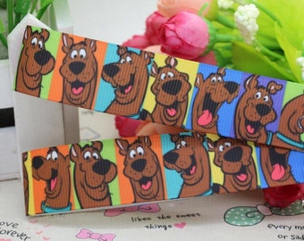 By the Yard 7/8 inch Printed Scooby Doo Grosgrain Ribbon Great for Hair Bows Crafts Sewing Scrapbooking Lanyards Lisa