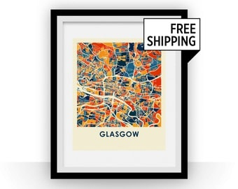 Glasgow Map Print - Full Color Map Poster