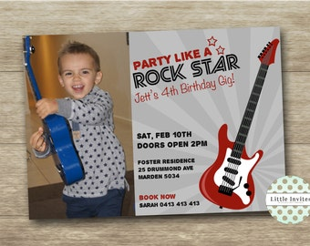 Guitar Rock Star Birthday Invitation/DIY printable invitation/Boys birthday Invitation with photo/Guitar Birthday Invitation/Music-Jett