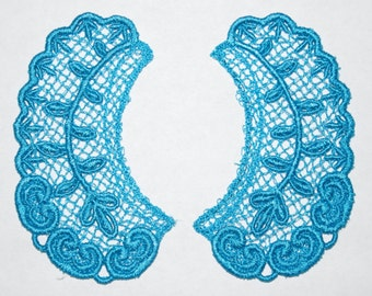 Lace Collar in TURQUOISE BLUE for 18 inch dolls such as American Girl #CR38