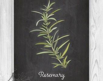Rosemary herb Culinary Art Print, Chalkboard Kitchen Herb Poster, Kitchen Wall Art Print, Kitchen Herb Art, Kitchen Herb Poster