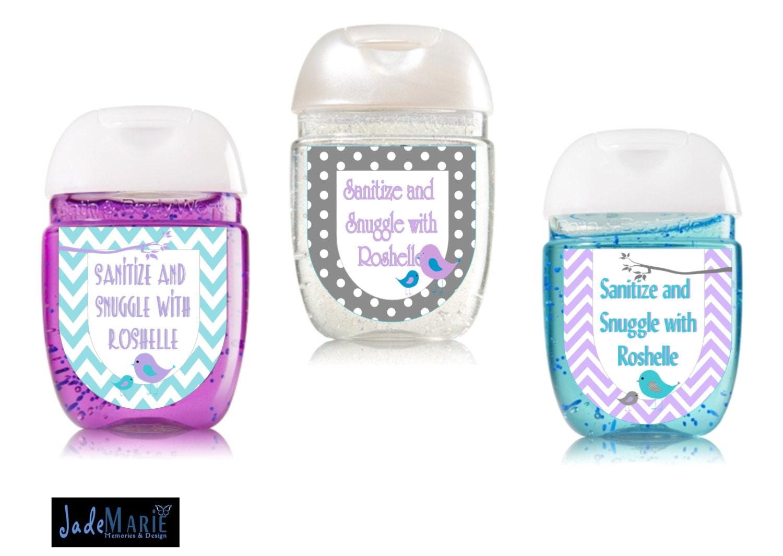 Little Birdie Hand Sanitizer Labels Baby Shower Favors Boy Or