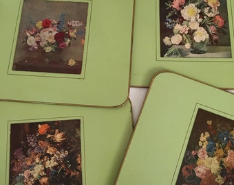 Vintage Trivets ~~ Kitchen Hot Pads..Green Floral