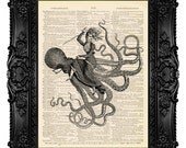 Octopus Frenzy Steampunk Wall Decor Steam Punk Wall Art Print on Dictionary Page Steampunk Octopus Art Girlfriend Gift Funny Wall Art 482