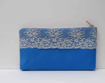 Bridal clutch Ivory lace  Navy  clutch   Bridesmaid clutch Lace clutch  Something blue