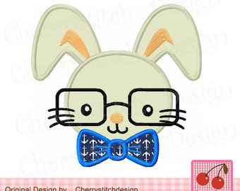 Easter Glasses Bunny Rabbit Machine Embroidery Design EAS07-4x4 5x5 6x6 inch