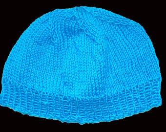 baby cap , knitted baby cap , turquoise , 42 cm