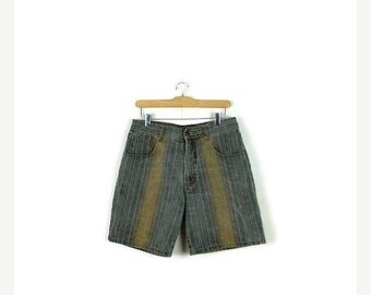 STORE WIDE SALE Vintage Faded Multi color Stripe Denim Shorts from 1980's/W30*