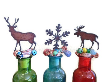 DEER SNOWFLAKE or MOOSE Wine Bottle Cork Stopper Topper Rusted Metal Decorative