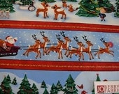 Rudolph and Christmas Trees Stripe Fabric by Character Arts for Quilting Treasures, Quilt or Craft Fabric, Fabric by the Yard.