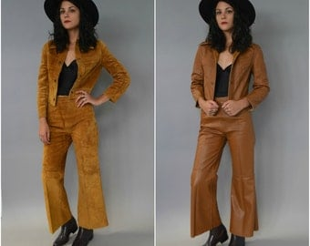 1970s REVERSIBLE two piece set- high waisted leather bell bottoms and matching jacket