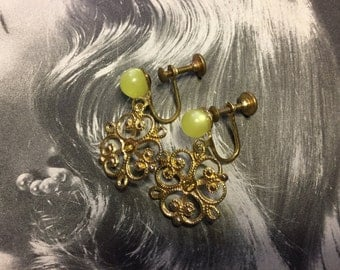 Vintage Screw Back Clip-on Earrings in Antique Gold with a Chartreuse 8mm Lucite Bead