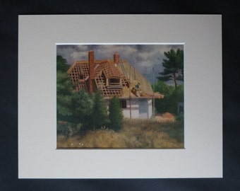 1940s Antique Richard Eurich Print of a Thatcher, Thatched Roof Decor, Available Framed, Cottage Art, Old Rustic Gift, Rural House Picture