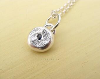 SALE 30% off - Blue Sapphire Pebble Necklace - Medium
