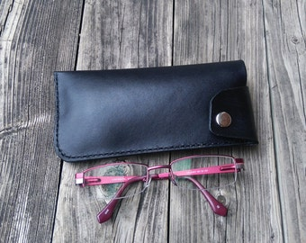 Leather eyeglass case, Handmade, hand stitched, genuine, black, glasses
