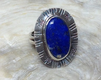Handmade sterling silver and Lapiz cabochon ring
