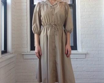 1980s Khaki Puffed Sleeved Shirt Dress