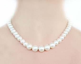 Big pearl necklace, bridesmaid gift, bridesmaid necklace, 12mm pearl necklace, wedding jewelry, wedding gift, wedding party, mother necklace